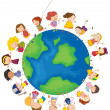 Kids around the globe — Stock Vector
