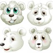 Heads of polar bears — Vector de stock