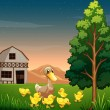 A duck and her ducklings across the barnhouse at the farm — Stock Vector
