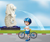 A young biker near the statue of Merlion — Stock Vector