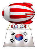 A floating balloon with the Korean flag — Stock Vector