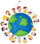 Kids around the globe — Stock Vector