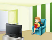 A girl watching TV while eating — Vector de stock