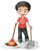A boy sweeping the dirt — Stock Vector