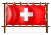 A wooden frame with the flag of Switzerland — Stock Vector