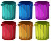 Colorful trashbins — Stock Vector