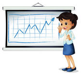 A woman explaining the graph — Stock Vector