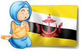 A lady near the flag of Brunei — Stock Vector