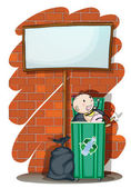 A baby inside the trashcan below an empty signboard — Stock Vector