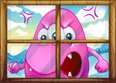 An angry pink monster outside the window — Stock Vector