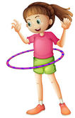 A young girl playing hulahoop — Stock Vector