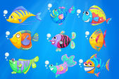 Nine colourful fishes under the deep ocean — Vettoriale Stock
