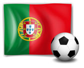 A soccer ball in front of the Portugal flag — Stock Vector
