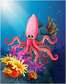 A big squid under the sea with the corals — Stock Vector