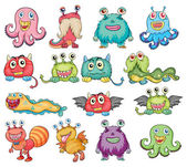 Cute and colorful monsters — Stock Vector