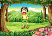 A boy crying at the woods — Stock Vector