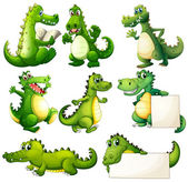 Eight scary crocodiles — Vector de stock