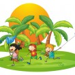 Kids playing in the island near the palm trees — Stock Vector