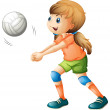 A smiling girl playing volleyball — Stock Vector #43545311