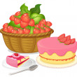 A basket of strawberries and a strawberry flavored cake — Stock Vector #43545561