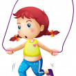 A cute little girl playing skipping rope — Stock Vector #43545639