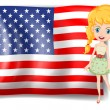 A pretty blonde and the USA flag — Stock Vector