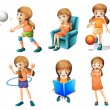 Different activities of a young lady — Stock Vector