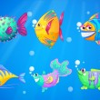 An ocean with a group of colorful fishes — Stock Vector #43547393