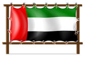 A wooden frame with the UAE flag — Stock Vector