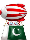 A floating balloon with the flag of Pakistan — Stock Vector