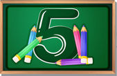 A blackboard with five pencils — Stock Vector