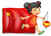 The flag of China at the back of the young Chinese — Stock Vector