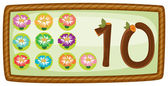 A rectangular template with ten flowers — Stock Vector
