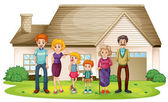 A family outside their big house — Stock Vector