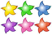 Three colorful stars — Stock Vector
