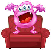 A chair with a pink monster — Stock Vector