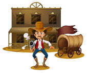 An armed man near the wagon — Stock Vector