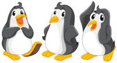 Three cute penguins — Stock Vector