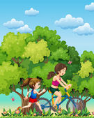 A mother and daughter exercising — Stock Vector