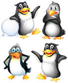 Four playful penguins — Stock Vector