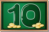A blackboard with ten coins — Stock Vector
