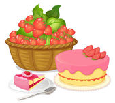 A basket of strawberries and a strawberry flavored cake — Stock Vector