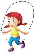 A cute little girl playing skipping rope — Stock Vector