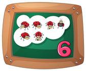 A blackboard with six ladybugs — Stock Vector