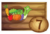 A wooden frame with seven vegetables — Stock Vector
