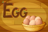 A frame with a basket of eggs — Stock Vector