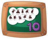 A blackboard with ten cockroaches — Stock Vector