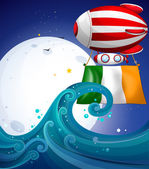 A floating balloon with the flag of Ireland — Stock Vector