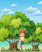 A boy playing with the skipping rope near the trees — Stock Vector