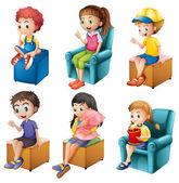 Kids sitting — Stock Vector